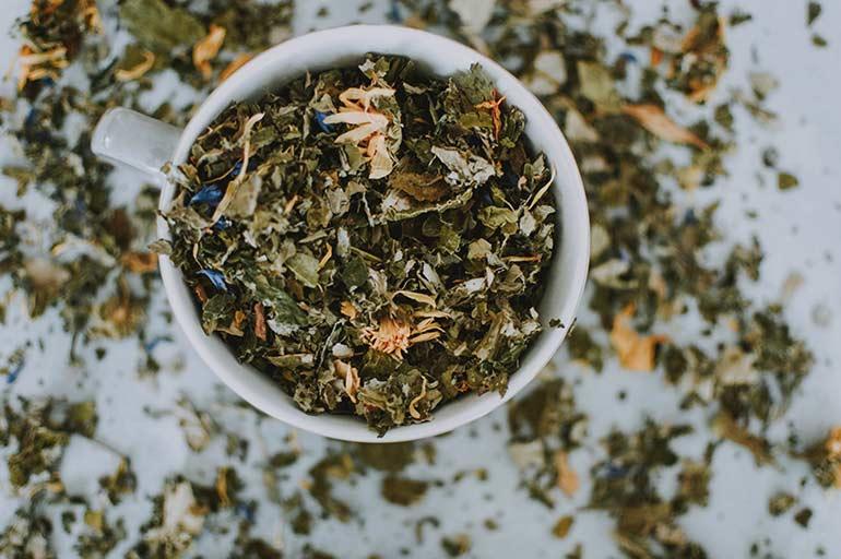 mug of dried herbs